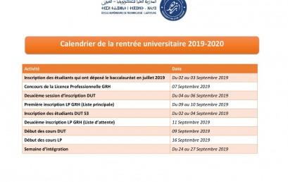 Calendrier de la rentrée universitaire 2019-2020