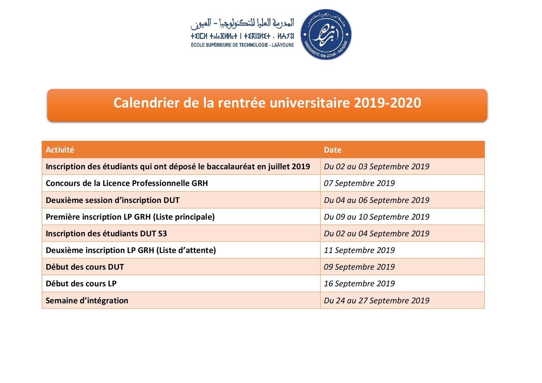 Calendrier Septembre 2020 Septembre 2019.Calendrier De La Rentree Universitaire 2019 2020 Est Laayoune