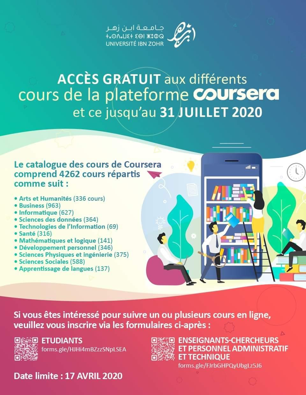 ACCÈS GRATUIT AUX DIFFERENTS COURS DE LA PLATEFORME COURSERA ET CE JUSQU'AU 31 JUILLET 2020