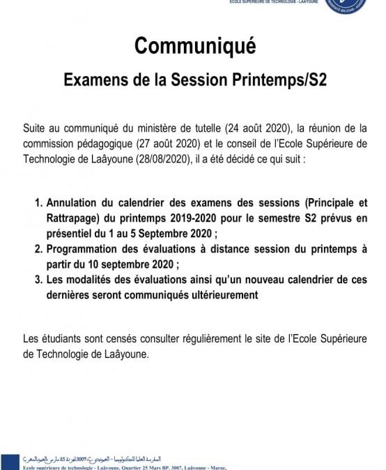 EXAMENS DE LA SESSION PRINTEMPS S2