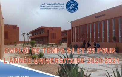 EMPLOI DE TEMPS S1 ET S3 POUR L'ANNÉE UNIVERSITAIRE 2020-2021