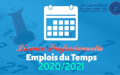 Emplois du temps Licence Professionnelle Semestre 5 année universitaire 2020/2021