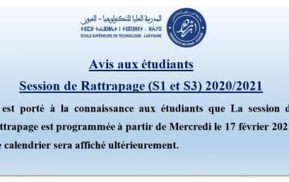 Avis aux étudiants – Session de Rattrapage (S1 et S3) 2020/2021