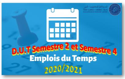 Emplois du temps D.U.T Semestres 2 et 4 – Année universitaire 2020/2021