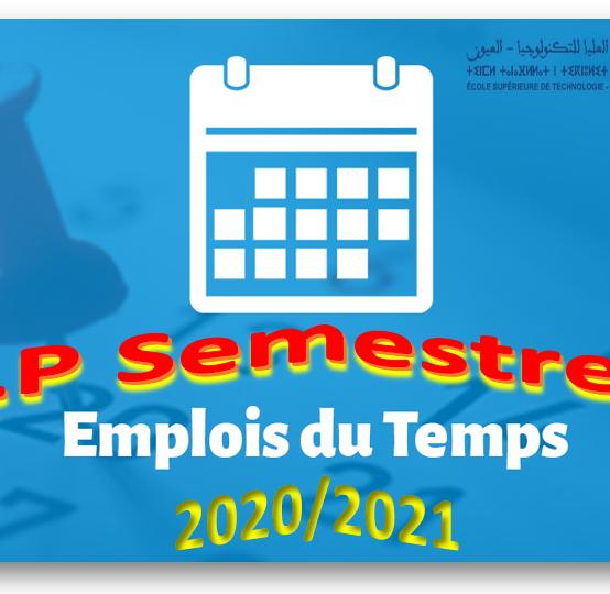 Emplois du temps Licence Professionnelle Semestre 6 année universitaire 2020/2021